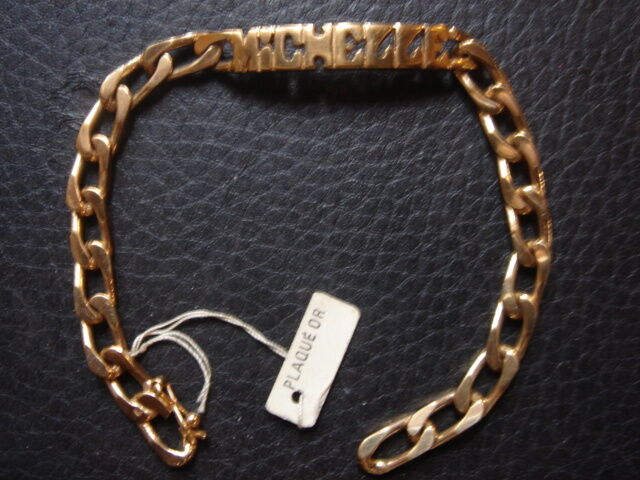 BELLE GOURMETTE  MICHELLE VINTAGE 1970 PLAQUE OR 11 GRS NEUF NEW OLD BRACELET