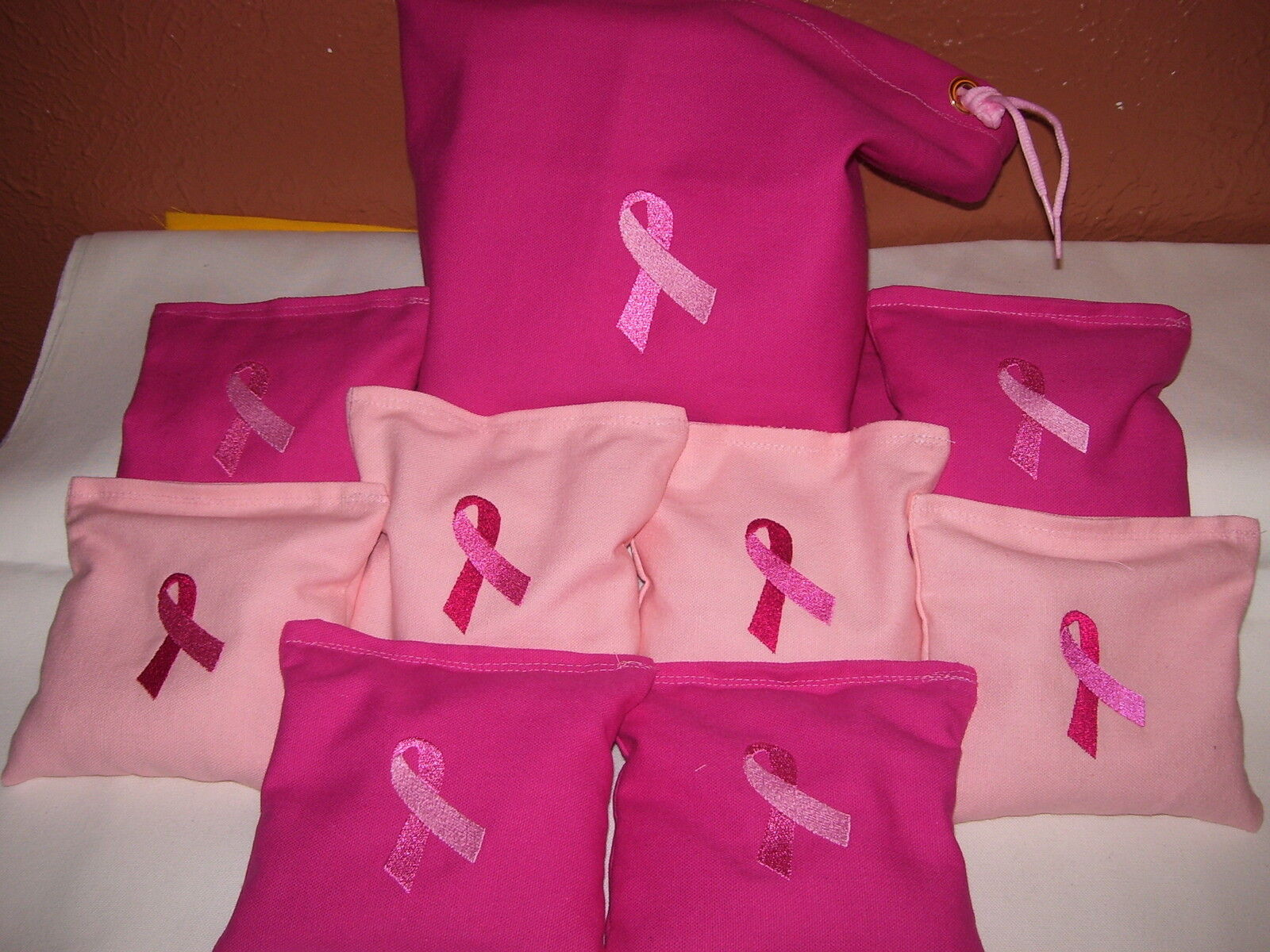 Breast  Cancer Embroidered Cornhole corn hole set of 8 Bags W Storage Bag  order online