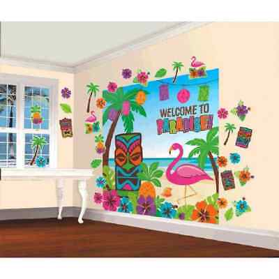 Luau Tiki Flamingo Scene Setter Theme Party Decoration Wall Decorating Kit