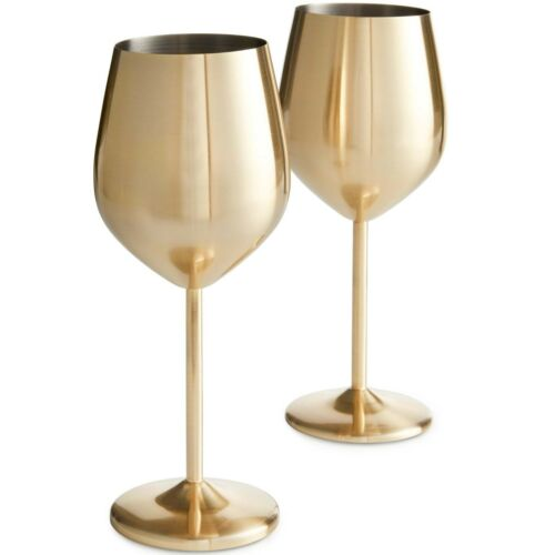 VonShef Wine Glasses Brushed Gold 2pc Stainless Steel Shatterproof Gift Box
