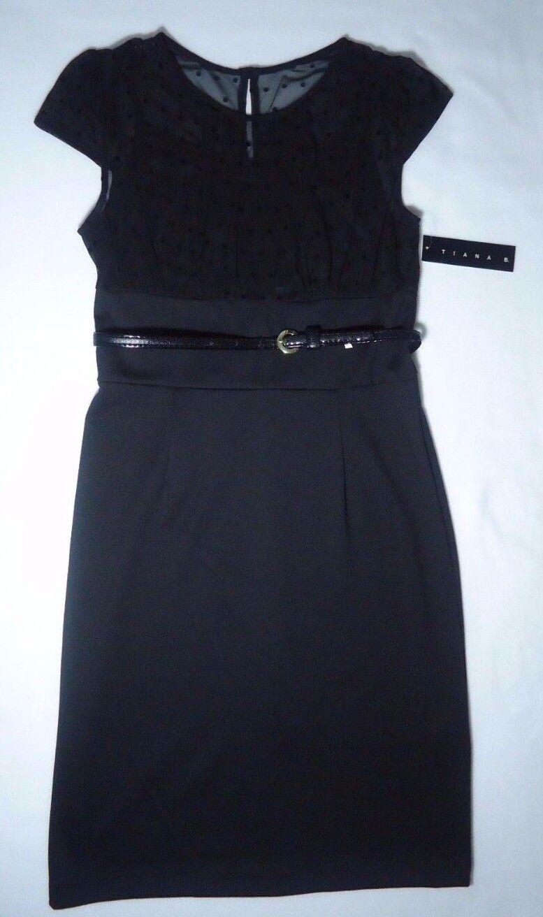 Woherren Tiana B. schwarz Spaghetti Strap Dress Sheer Polka Top Overlay Dress 8 NWT