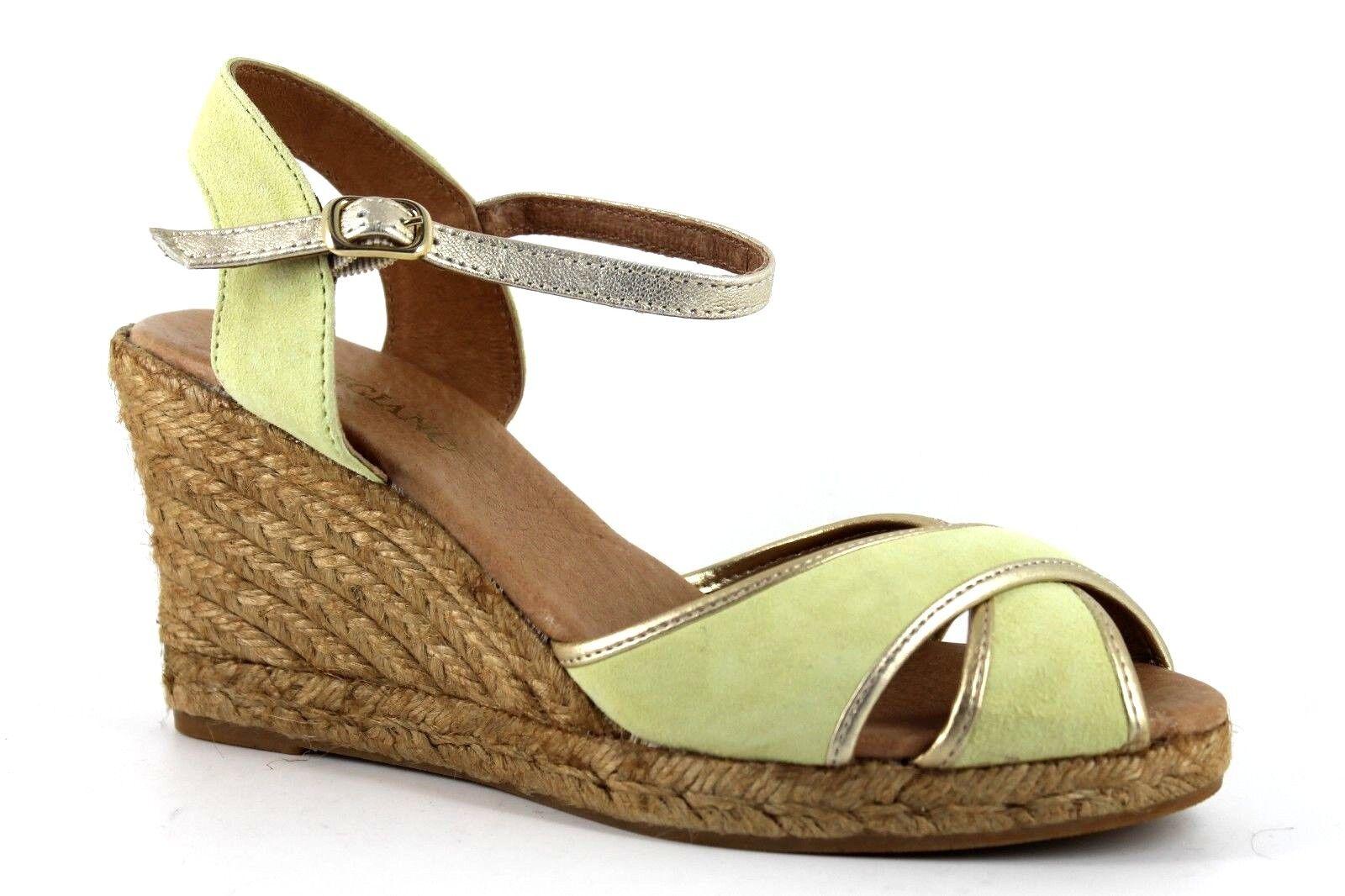 Artigiano Womens UK 5 EU 38 Suede Wedge Heel Pale Green gold Espadrille Sandals
