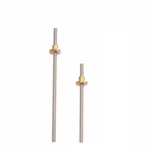 8mm T8 Threaded Rod for Trapezoidal ACME Lead Screw W// Brass Nut Kit 300//400mm