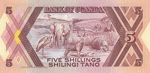 *BANKNOTE*UGANDA*5 Shillings 1987*P.27*RS Elefant u.a. Tiere Afrikas*