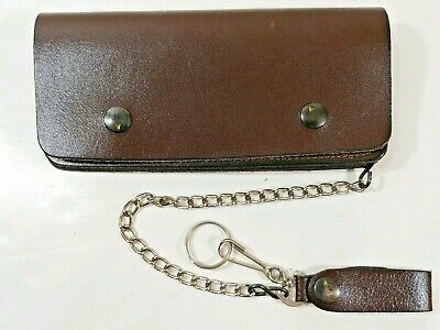New Hand Dyed Brown Leather Trifold Trucker Biker Chain Wallet USA Made