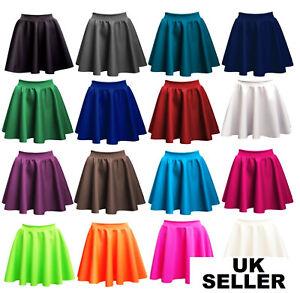 Ladies-Skirts-Womens-Belted-Flared-Plain-Mini-Skater-Skirt-Girl-All-Sizes-PnT