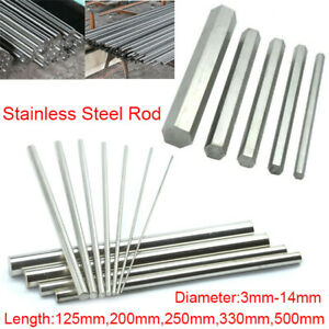 304-Stainless-Steel-Round-Rod-Hex-Bar-Metal-Shaft-3mm-14mm-Dia-125mm-500mm-Long