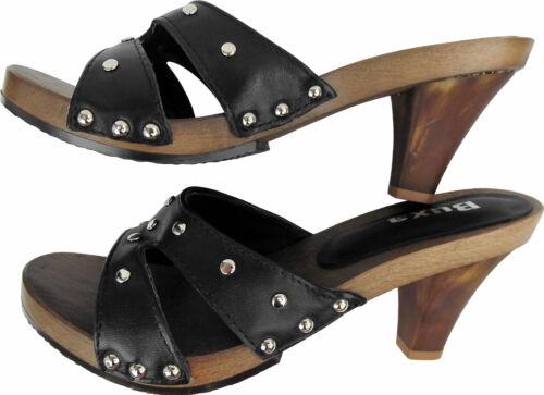2 14 39 4 Gr legno nera in zoccoli Eleganti Svezia 45 pelle vera in 17PwTF