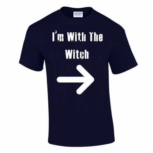 Men Iam With Witch Adult Casual Party Night Costume Trick Treat Unisex T Shirt