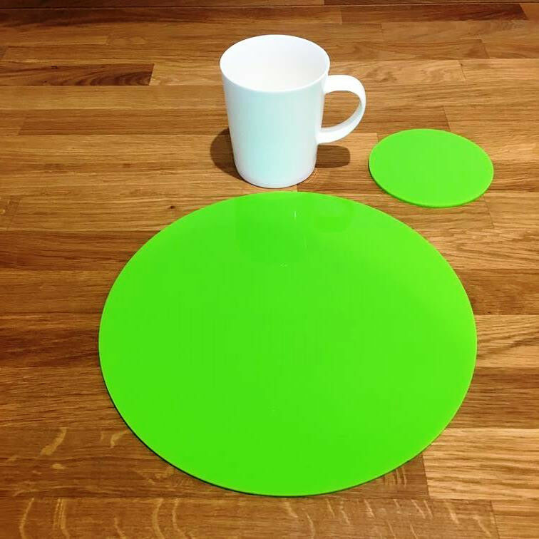 Round Placemat and Coaster Set - Lime Grün