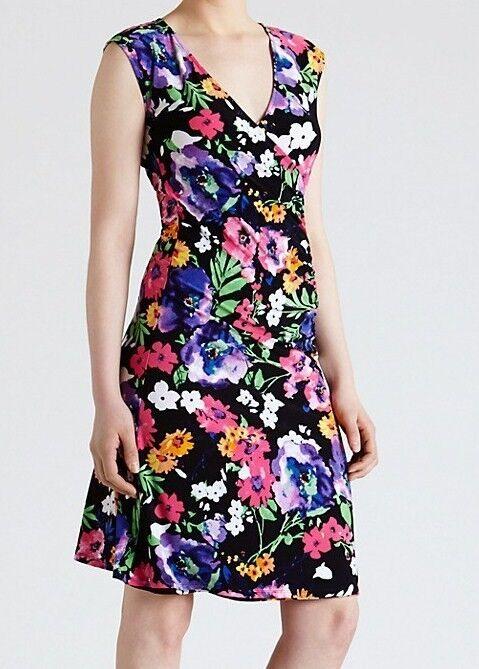 NWT  MSRP  - LAUREN RALPH LAUREN Woherren Jersey Floral  Dress, Navy Multi