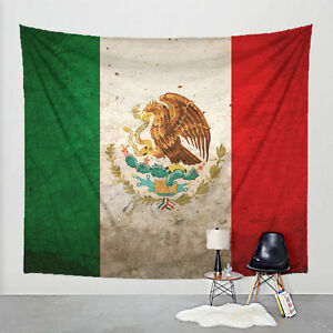 Image is loading Mexican-Flag-Tapestry-Distressed-Fabric-Art-Print-Wall- & Mexican Flag Tapestry Distressed Fabric Art Print Wall Hanging ...