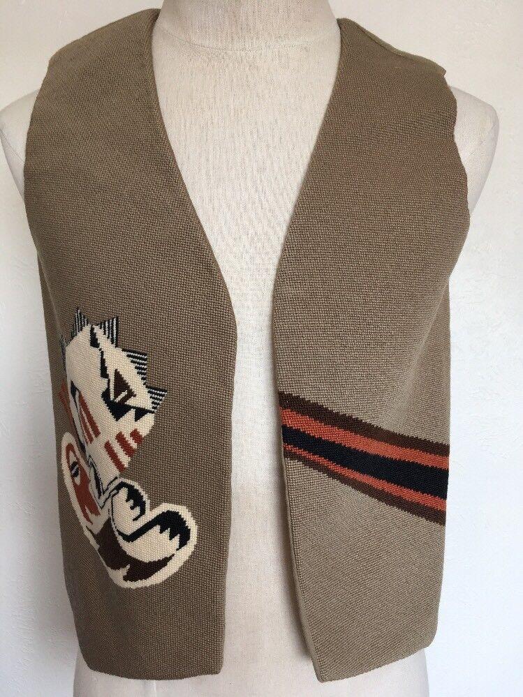 Handmade Vest with Unique Southwest Design  Beige Wool  M/L  New Mexico