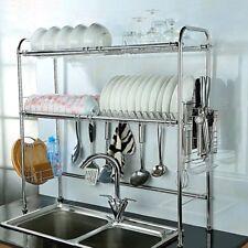 Stainless Steel Dish Rack Over Sink Bowl Shelf Organizer Nonslip Cutlery Holder