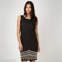 New Principles by Ben de Lisi Black Beaded Linen Blend Tunic Dress Sz 8 rrp £85