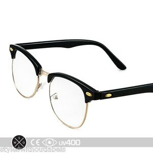 8c16bfb0fd Details about Black Gold Vintage Inspired 80s Clubmaster Clear Lens Hipster  Nerd Glasses S012