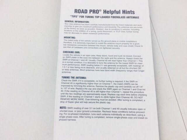 RoadPro RP-83W Standard Series White 3 Mirror Mount Fiberglass CB Antenna Kit