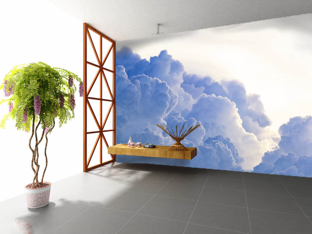 3D Blau Clouds 821 Wallpaper Mural Paper Wall Print Wallpaper Murals UK Lemon