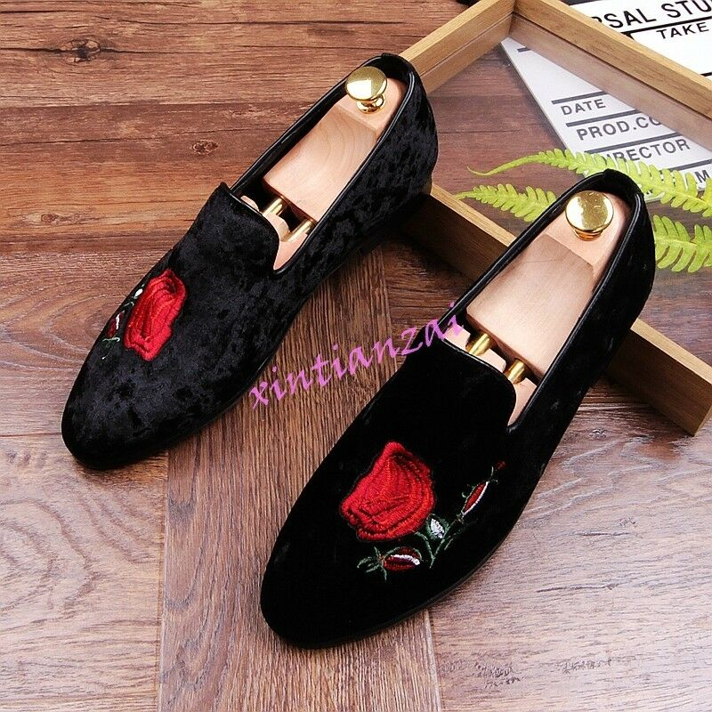 Uomo 2018 Slip On Retro Loafera Leisure Embroidery floral New Shoes Flat Fashion