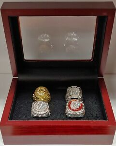 Chicago-Blackhawks-Stanley-Cup-4-Ring-Set-with-Wooden-Box-Toews-Mikita-Hull