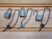 lot 3 petits cadenas fantaisie pour vitrine/journal secret/boite à bijoux/casier