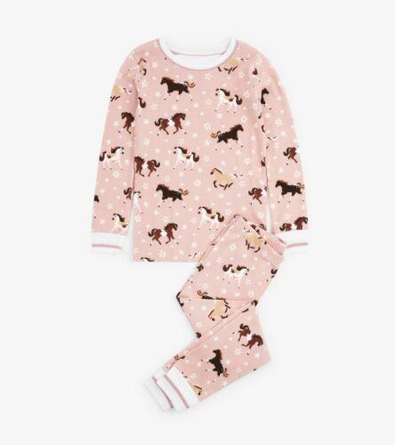BNWT Hatley Girls Frolicking Horses Pyjamas Snug Organic Cotton Pink Ponies Cute