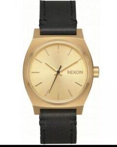 NIB-Nixon-Medium-Time-Teller-Leather-Watch-Gold-Black-A1172-513-Womens-31mm