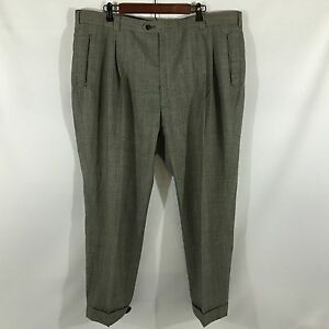 Henry-Grenthel-100-Wool-Black-Check-Men-039-s-Pants-Waist-42-Inseam-28