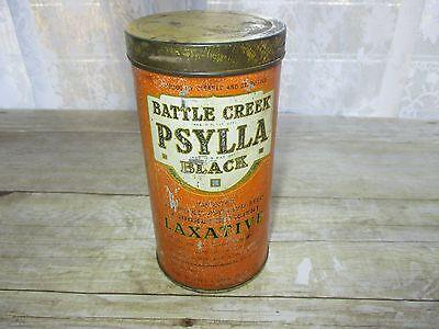 "Vintage Battle Creek Psylla Black Laxative 6"" Tin Showing It's Age HTF"
