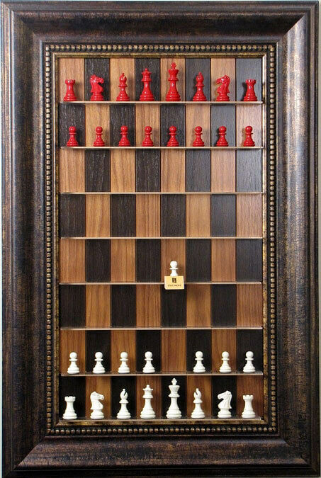 Straight Straight Straight Up Chess Board - Dark Walnut Series with wide 4 1 4  Antique Bronze Fra 6dcccd