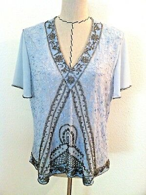b9846a097e1e9e Together women blouse top blue sheer sequin bead embellish slit sleeve size  16