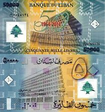 LEBANON 50000 Livre Banknote World Money UNC Polymer Currency Bank Commemorative