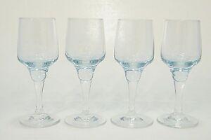 4 MiD CENTURY MOD SASAKi CRYSTAL HARMONY LiGHT AZURE BLUE CORDiAL SHOT GLASSES