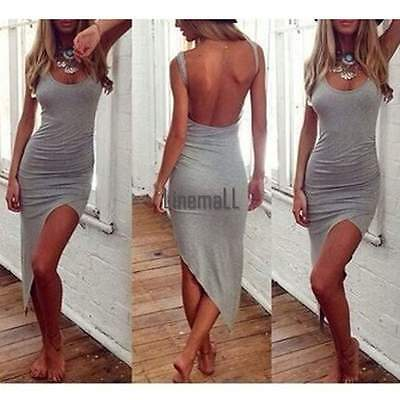 Summer Sexy Womens Casual Camisole Tank Top Backless Strap Bodycon Mini Dress LM