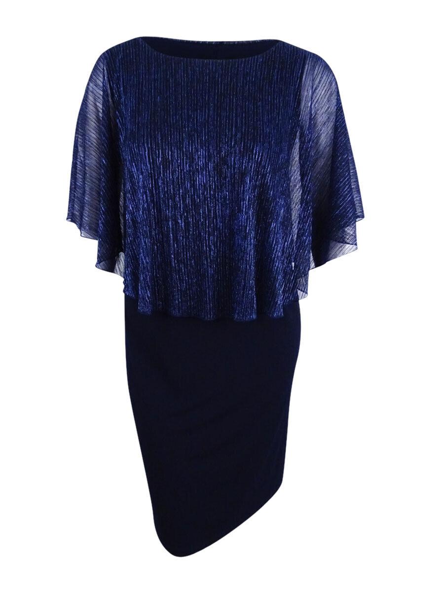 Connected Woherren Plus Größe Metallic Illusion-Overlay Gown