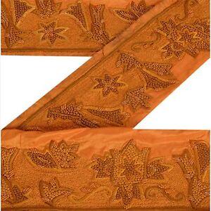 Sanskriti Vintage Saffron Sari Border Hand Embroidred Craft Trim Sewing Lace Pure And Mild Flavor Crafts