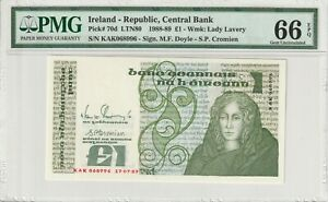 Ireland PMG Certified Banknote UNC 66 EPQ Gem 1988 1 Pound Punt Pick 70d Lavery