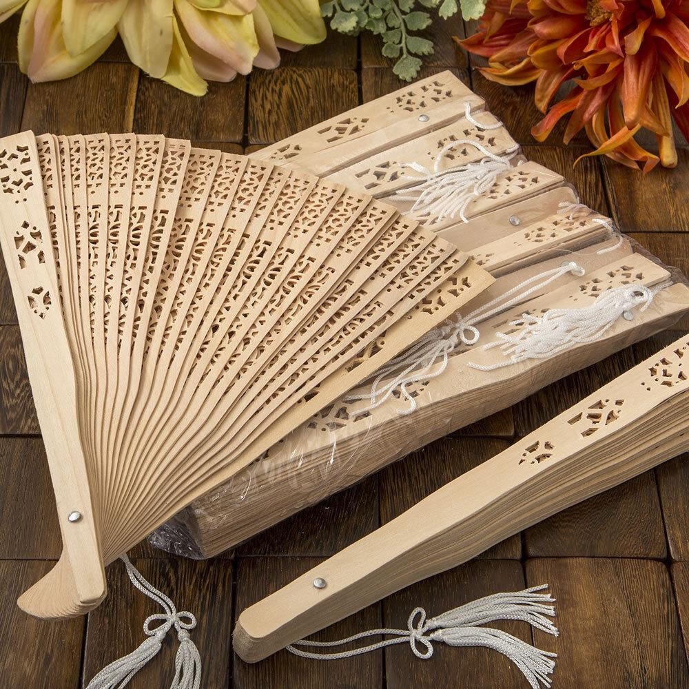 200 carved Sandalwood fan favors Bridal Shower Wedding Favor Outdoor Ceremony