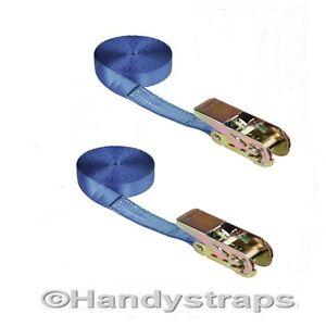 1-pair-Blue-5m-x-25mm-endless-RATCHET-TIE-DOWN-STRAP-800kg