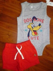 Disney MICKEY MOUSE /& PLUTO 2 Cute Little Bodysuits NWT