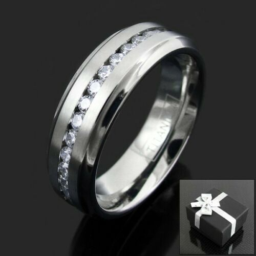 Titanium Men/'s 1.08 ct Zircon cubique Eternity Wedding Band Ring Taille 9-13