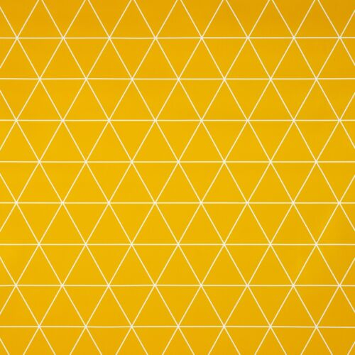 Ochre Yellow Geometric Triangles Wipe Clean PVC Vinyl Tablecloth Protector