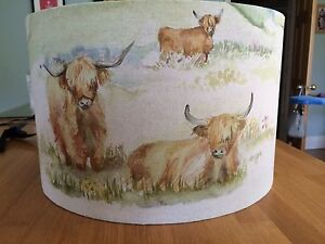 New Handmade Drum Lampshade Voyage Highland Cattle Cows