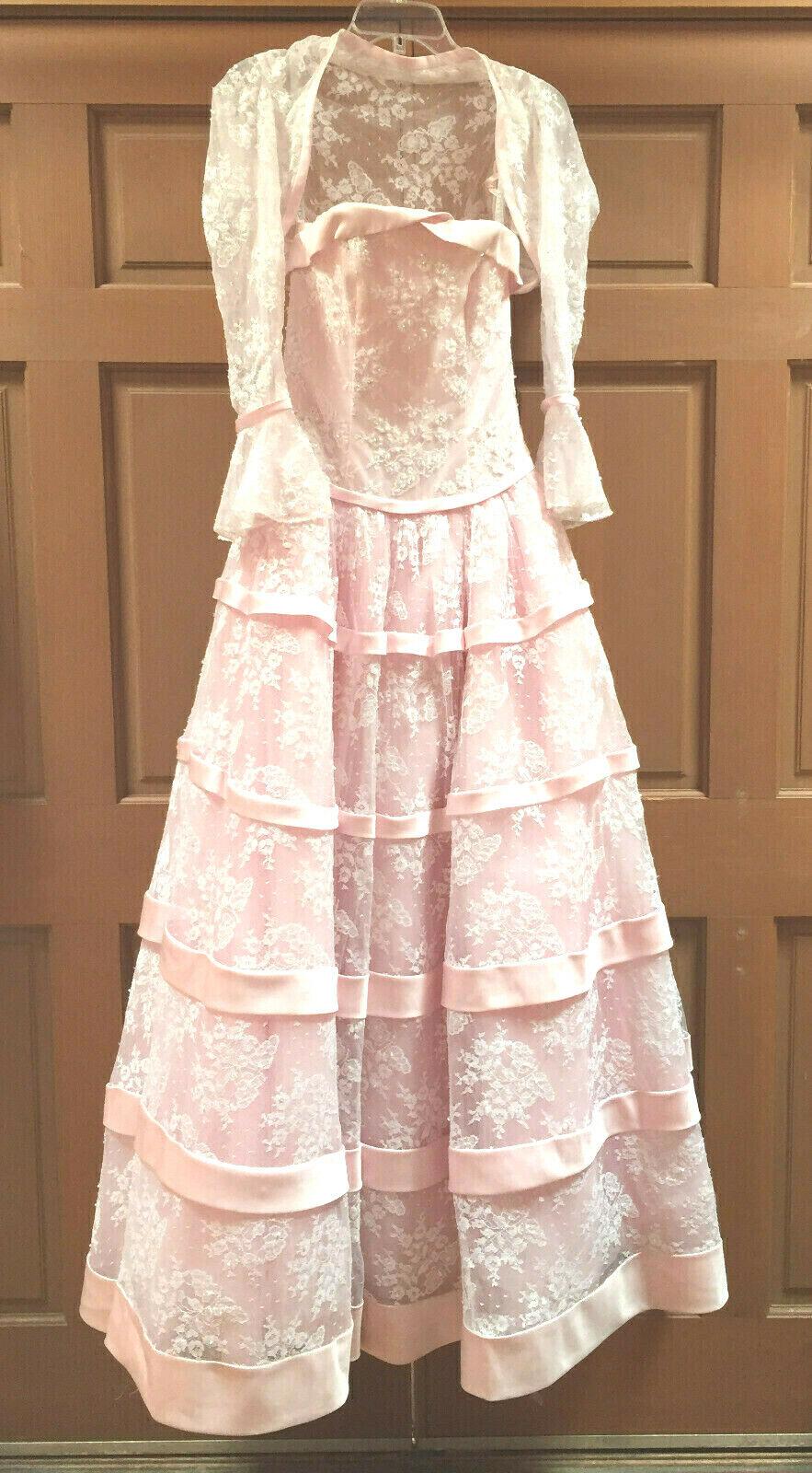 Marys Bridal PC Wedding Gown Women's Bolero Formal Size 6 Pink White Lace