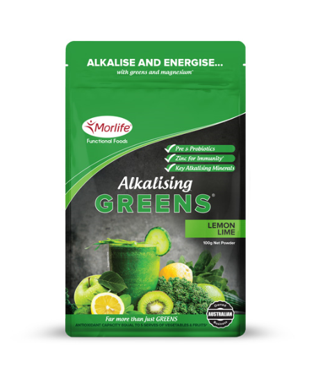 Morlife Alkalising Greens Lemon Lime Flavour 100g | Super Greens