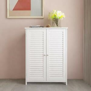 White Storage Cabinet Shutter Doors 3 Shelves Wooden Unit ...