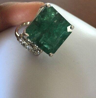 New Designer Huge 16+ carat Zambian Emerald, Diamond & 14k white gold ring sz 7
