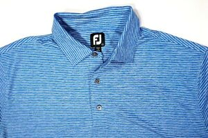 Footjoy-Mens-Shirt-Striped-2XL-Short-Sleeve-Golf-Polo-FJ-Blue-White
