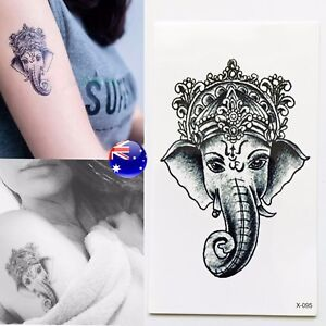 Indian God Temporary Tattoo Hindu Ganesh Ganesa Fortune Elephant