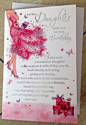 Daughter Birthday Card Embossed With Lovely Sentiment Verse 5050933295825